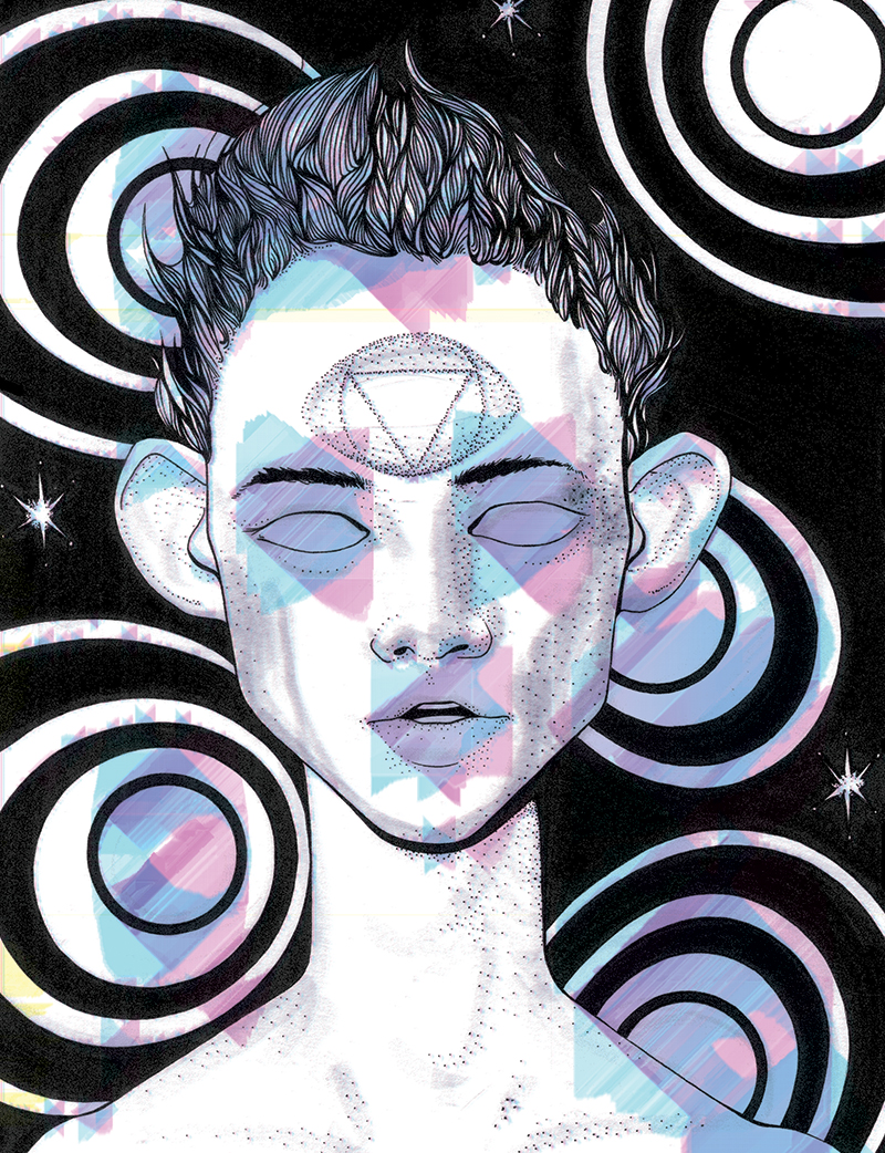 An image of a young man superimposed over psychadelic spirals