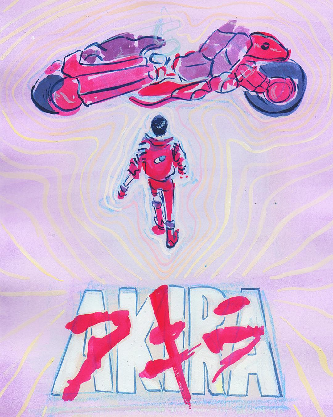 A poster for the film Akira, painted in watercolor.
