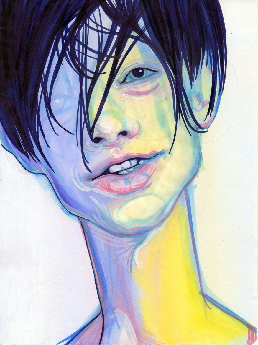 A brightly colored painting of a young man.