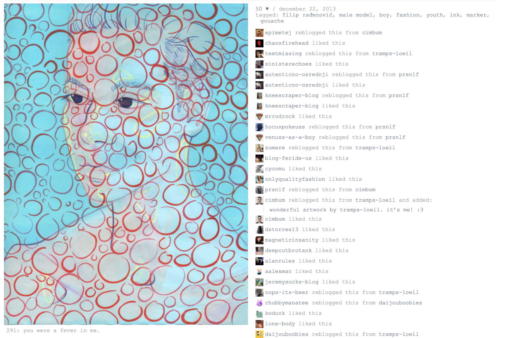 A painting side-by-side with a list of comments and reblog notifications.